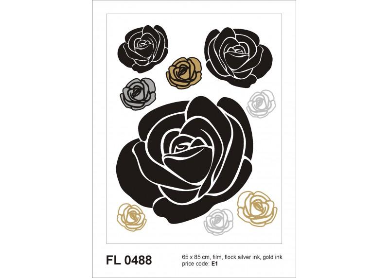 Samolepka na zeď,  AG Design, F 0488, Černé růže se zlatými a stříbrnými elementy, 65x85 cm