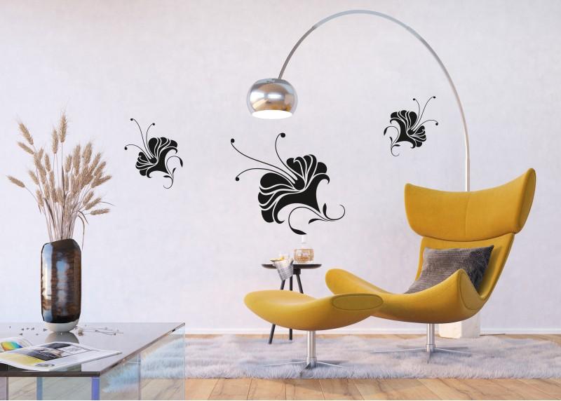 Samolepka na zeď,  AG Design, FL 1017, Abstraktní lilie, 65x85 cm