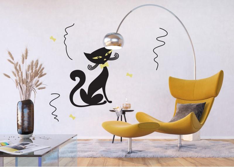 Samolepka na zeď,  AG Design, FL 0415, Okouzlující kocour, 65x85 cm
