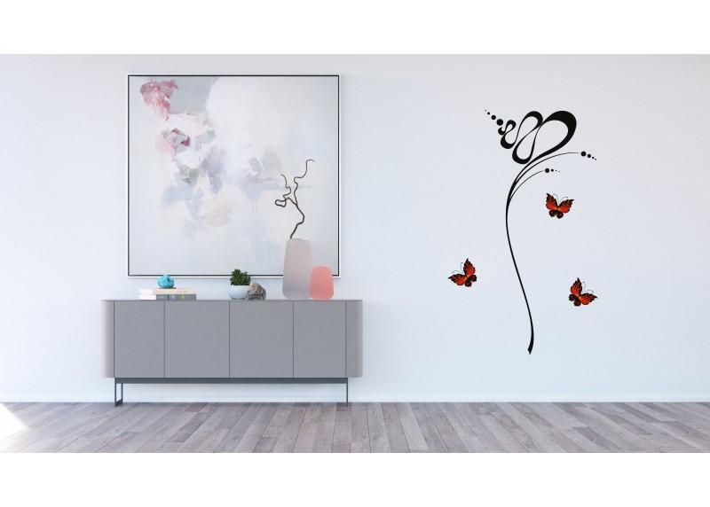 Samolepka na zeď,  AG Design, FL 0480, Abstrakce s motýly, 65x85 cm