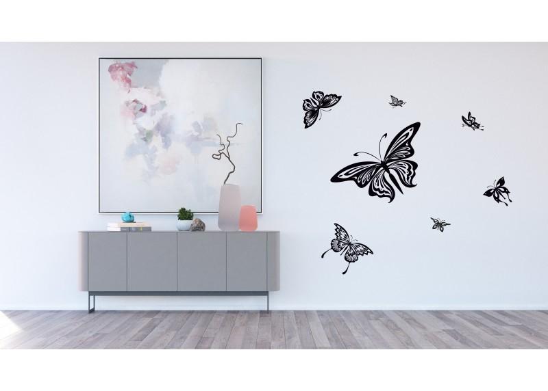 Samolepka na zeď,  AG Design, FL 0483, Černo-bílé motýly, 65x85 cm