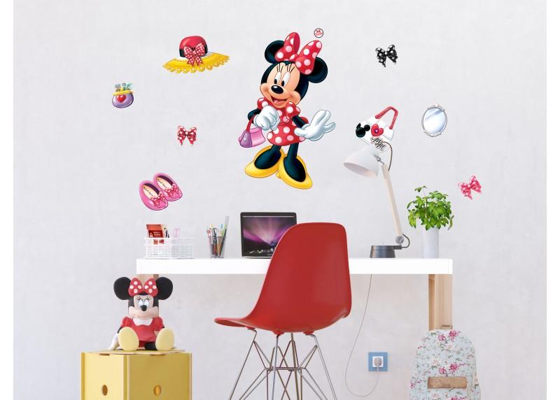 Samolepka na zeď dětská,  AG Design, DK 1703, Disney, Minnie Mouse, Krásná Minnie, 65x85 cm