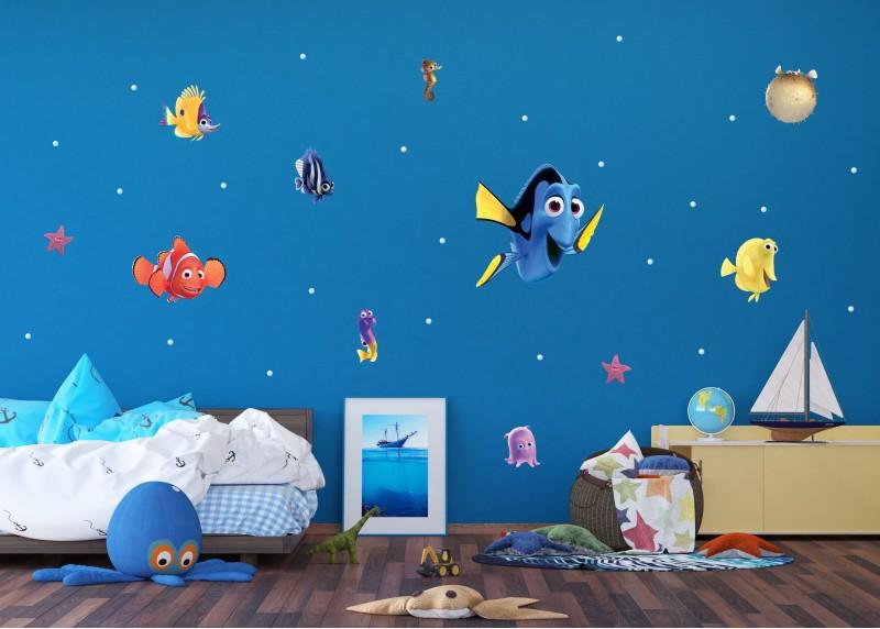 Samolepka na zeď dětská,  AG Design, DK 1705, Disney, Nemo a Dory, 65x85 cm