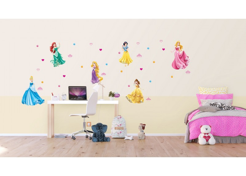 Samolepka na zeď dětská,  AG Design, DK 1706, Disney, Princezny a koruny, 65x85 cm