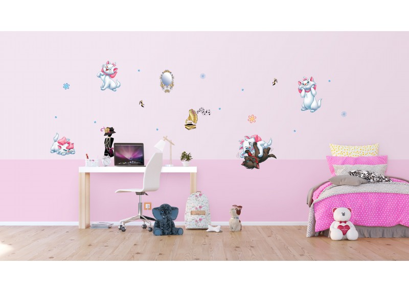 Samolepka na zeď dětská,  AG Design, DK 1708, Disney, Aristokočky, 65x85 cm