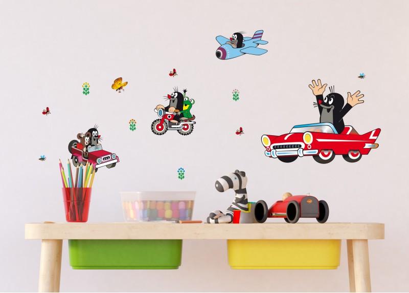 Krtek v autě, dekorační nálepky na stěny, nábytek a interiérové předměty v dětském pokoji, 30 x 30 cm, 1091 DKS