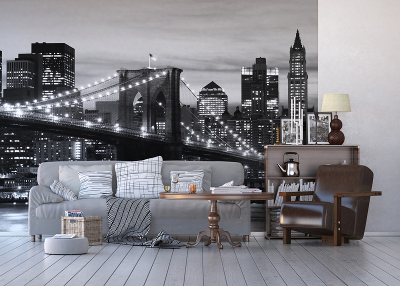Černobílý Brooklynský most při západu slunce, papírová fototapeta do obývacího pokoje, ložnice, jídelny, kuchyně či chaty, AG Design, 360 x 254 cm, FTS 0199