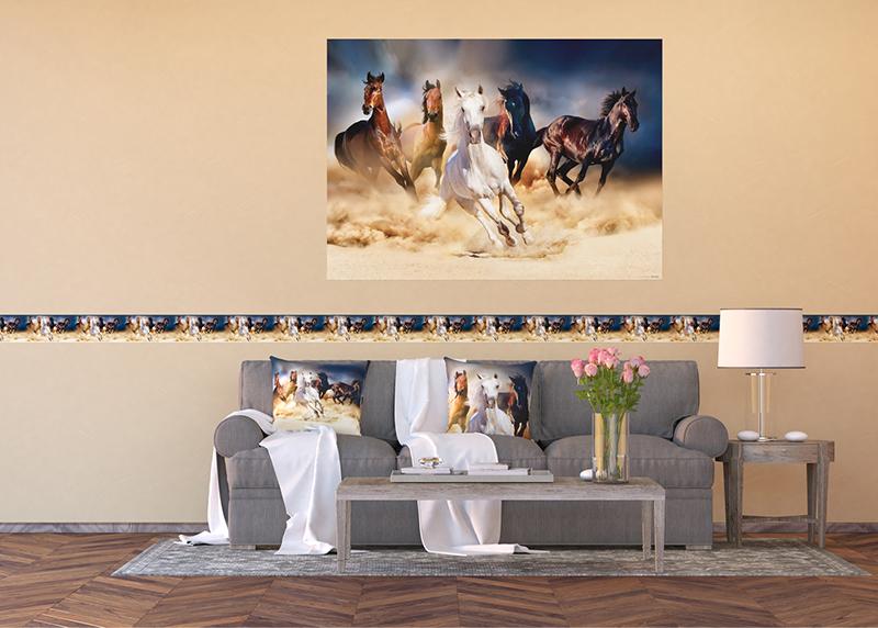 Běžící koně, dekorativní polštář AG Design, 45 x 45 cm, do obývacího pokoje, kuchyně, ložnice či chaty, CN 3602