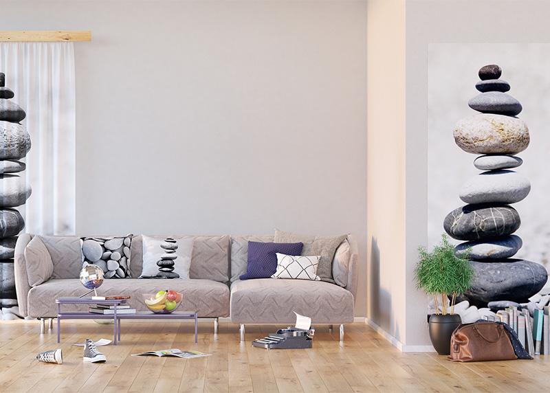Kameny na pláži, dekorativní polštář AG Design, 45 x 45 cm, do obývacího pokoje, kuchyně, ložnice či chaty, CN 3612