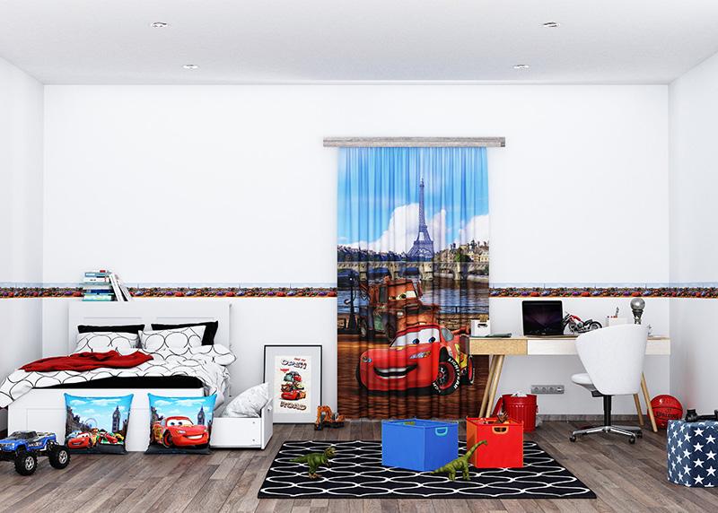Cars v Londýně, Disney, dekorativní polštář AG Design, 40 x 40 cm, do dětského pokoje, CND 3112
