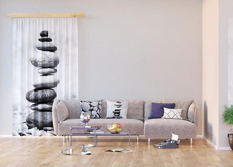 Stone Pyramid, záclony AG Design, 140 x 245 cm, 1 díl, do kuchyně, obývacího pokoje, ložnice, FCS L 7504