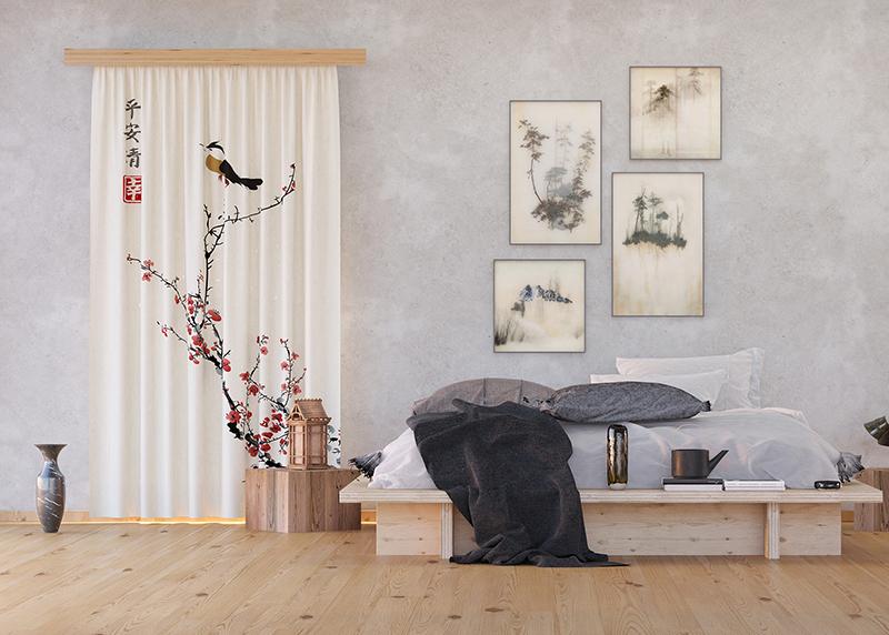 Japonská Sakura s ptáčkem, záclony AG Design, 140 x 245 cm, 1 díl, do kuchyně, obývacího pokoje, ložnice, FCS L 7595