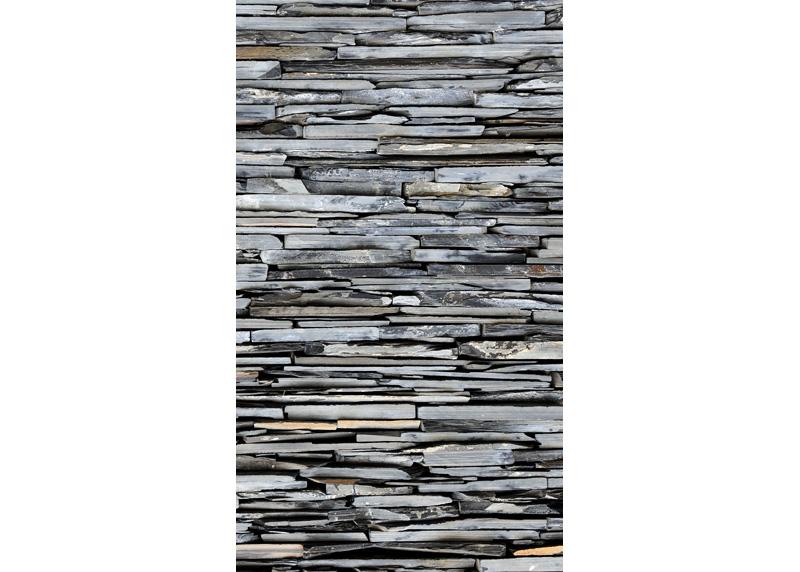 Kamenná zeď , záclony AG Design, 140 x 245 cm, 1 díl, do kuchyně, obývacího pokoje, ložnice, FCS L 7597
