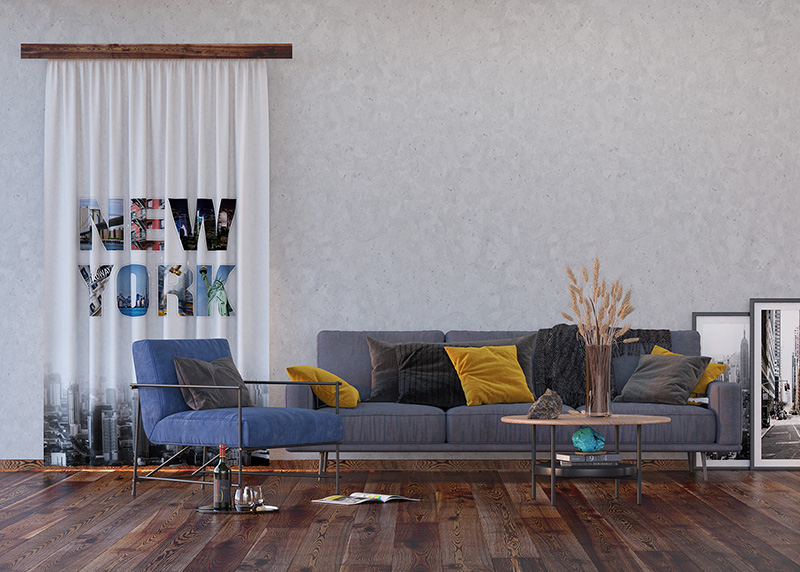 Černobílý New York, záclony AG Design, 140 x 245 cm, 1 díl, do kuchyně, obývacího pokoje, ložnice, FCS L 7598